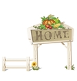 Rustic scene creative sign Home and vegetables vector image
