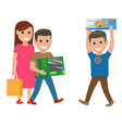 family shopping  mother and sons vector image