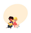kids black african boy and caucasian girl vector image