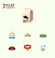 flat icon animal set of bunny fish nutrient vector image