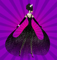 lady in black dress vector image vector image