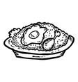 fried rice with chicken meat and egg vector image
