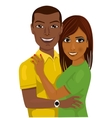 african american couple hugging together vector image
