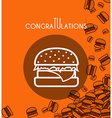 Background with falling burgers and overlay colors vector image