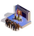 Business award winner podium isometric isometric vector image