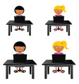 Children sitting and holding laptop vector image