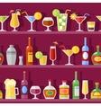 Cocktail Glasses And Bottles On Shelves vector image