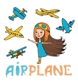 set of girl and planes vector image