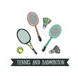 Modern of badminton racket and big tennis sports vector image vector image