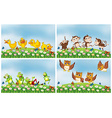 Scenes with animals in the field vector image vector image