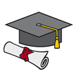 Graduation cap and diploma vector image vector image