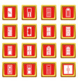 door icons set red vector image vector image