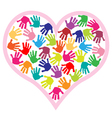 children hand prints in the heart vector image vector image