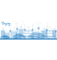 Outline Beijing Skyline with Blue Buildings vector image