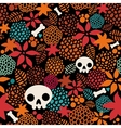 Big skulls and flowers seamless background vector image