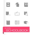 black schoolbook icon set vector image