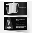 business card with microphone vector image