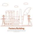 cartoon factory building industry business vector image