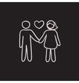 Couple in love sketch icon vector image