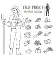 vegetables and farmer fo vector image