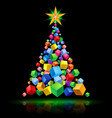 abstract christmas tree cubic design on black vector image vector image