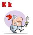 Knight cartoon with letter vector image