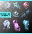 underwater transparent icon set vector image