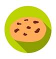 Chocolate chip cookies icon in flat style isolated vector image