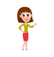 cute pretty comic style girl woman showing thumb vector image
