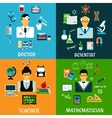 Doctor teacher scientist and mathematician vector image