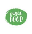 green grunge vegan food hand drawn logotype vector image