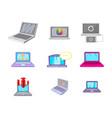 laptop icon set cartoon style vector image