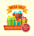 mega sale banner with gift boxes vector image