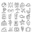 summer doodle icons vector image