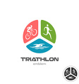 Triathlon sport logo Cyclist running and swimming vector image