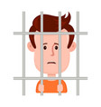 young sad man prisoner behind bars vector image
