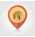 Olive flat pin map icon Tropical fruit vector image