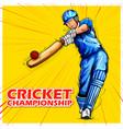 Batsman playing cricket championship sports vector image