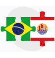 Brazil and French Polynesia Flags vector image