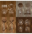 BBQ Beef menu restaurant symbol on Wooden striped vector image vector image