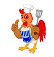 cartoon chicken chef vector image