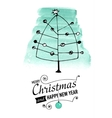 Christmas and New Year Card with hand drawn doodle vector image