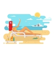 Girl on beach design flat vector image