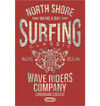 north shore hawaii classic surfing company vector image