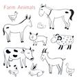 set of different farm animals vector image