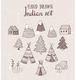 Set of North American Indian tipi homes with vector image