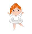 smiling little ballerina girl in white tutu vector image