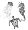 Zentangle stylized black turtle sea horse and vector image
