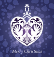 christmas toy handmade heart birds vector image vector image