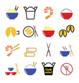 Chinese take away food icons - pasta rice spring vector image